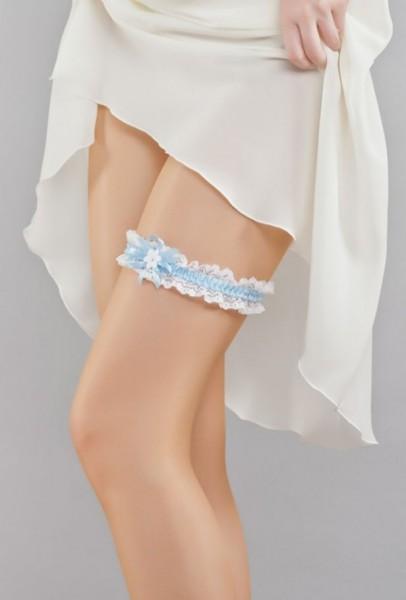 Strumpfband mit Spitze in weiß/blau