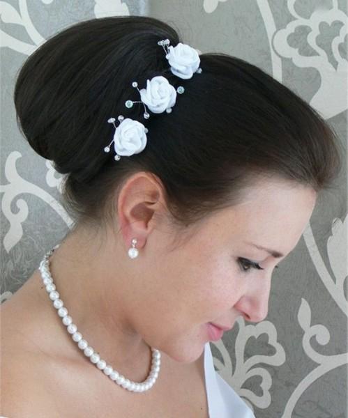 3 Haarnadeln mit Rosen & Perlen