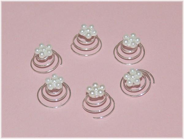 6 Blumen Curlies Strass Perle