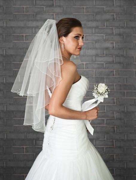 Brautschleier 2-stufig, 80 cm