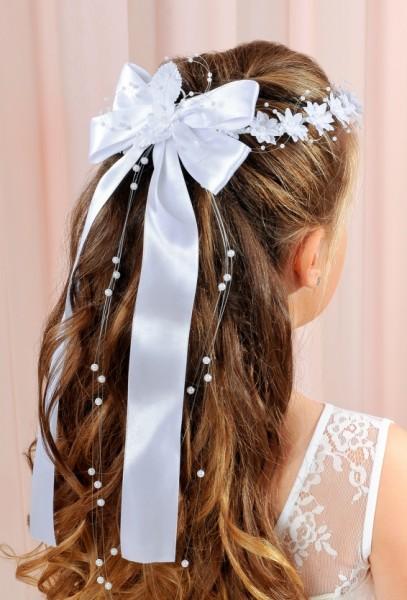 Haarkranz mit Blüten und Schleifen