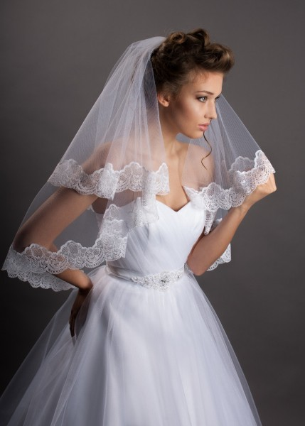 Brautschleier mit Spitze, 80 cm