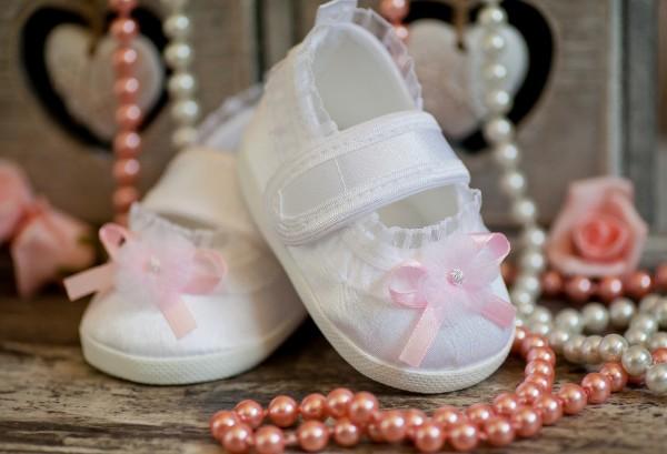 Taufschuhe ♥ Ballerinas, weiss/rosa