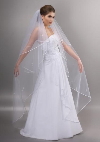 Brautschleier mit Perlen, 170 cm