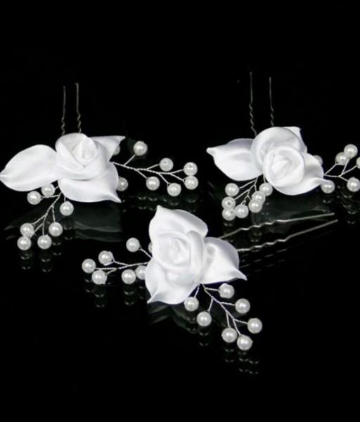 3 Haarnadeln Rosen & Perlen