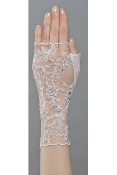 Fingerlose Handschuhe aus Tüll und Spitze