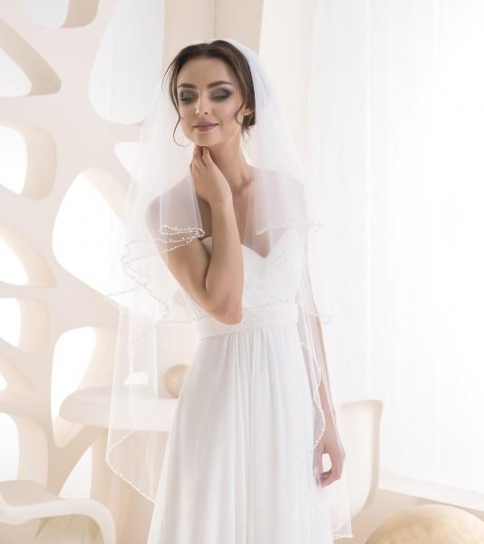 Brautschleier mit Perlenkante