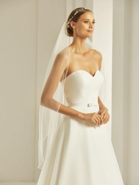 Brautschleier mit Glasperlen -Kante, 1-lagig, 110 cm lang