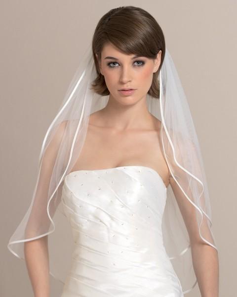 Brautschleier mit Satinkante, 60 cm lang
