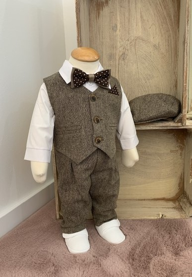 Elias ♥ Vintage Taufanzug in braun