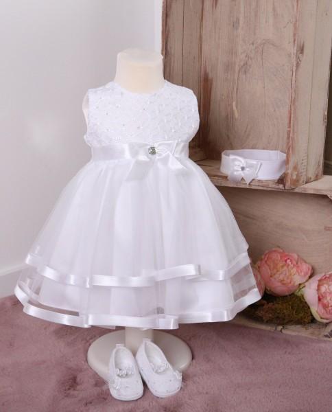 Bella ♥ Taufkleid mit Spitze in weiß