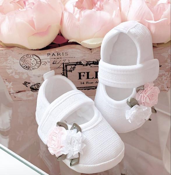 Ballerina Taufschuhe mit Blumen ♥ in weiß