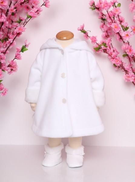 Mantel mit Kunstfelleinsatz in weiß