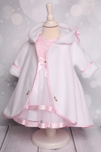 Mantel zum Taufkleid weiß/rosa