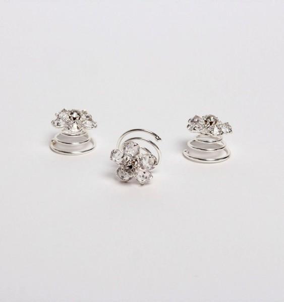3 Curlies aus Strass & Kristal