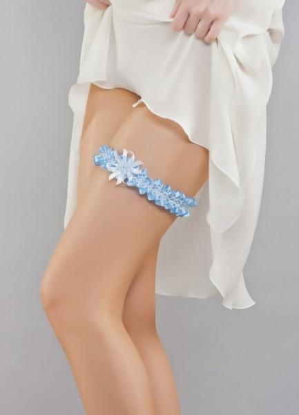 Strumpfband mit Spitze in blau